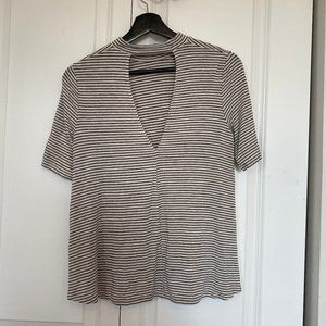 American Eagle Striped Cut-out V Neck T-Shirt